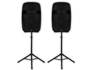 """Acoustic Audio AA152UB Powered 15"""" Bluetooth Speaker Pair 1800 Watts USB MP3 & Stands AA152UB-PK2"""