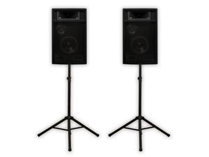 "Acoustic Audio PA365X Pair 1000 Watts 6.5"" 3-Way PA DJ Studio Monitor Speakers and Stands PA-365X-PK2"
