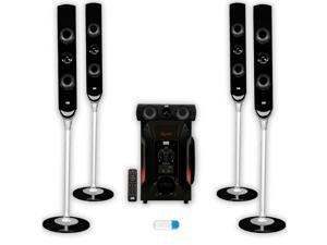 Acoustic Audio AAT1000 Tower 5.1 Home Speaker System with USB Bluetooth and Powered Sub