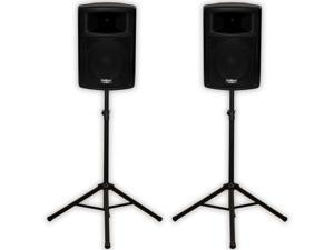 """Podium Pro PP1003A DJ 10"""" Powered Active Speakers and Stands PA Karaoke PP1003ASET1"""