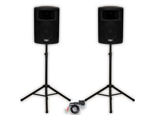"""Podium Pro PP1003A DJ 10"""" Powered Speakers Bluetooth and Stands PA Karaoke Band"""