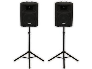 """Podium Pro PP1007A Bluetooth 10"""" Active Speakers and Stands MP3 1000W PP1007ASET1"""
