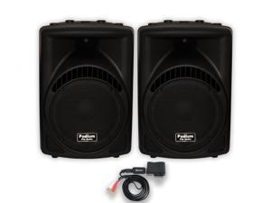 """Podium Pro PP1204CA Powered 12"""" Speaker Pair with Bluetooth MP3 for DJ PA Band"""