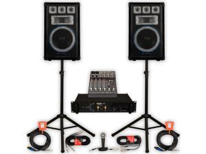Technical Pro VRTX12 Speakers Amp Mixer Mic Stands and Cables 2000W DJ PA Band VRTX12SET3