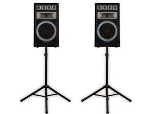 Technical Pro VRTX15 Passive Speakers and Stands 2400 Watts PA DJ Karaoke Band VRTX15SET1