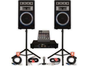 Technical Pro VRTX15 Speakers Amp Mixer Mic Stands and Cables 2400W DJ PA Band VRTX15SET3
