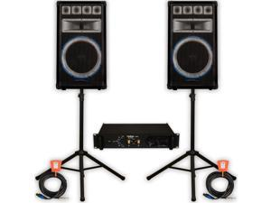 Technical Pro VRTX15 Speakers Amp Stands and Cables 2400W PA DJ Karaoke VRTX15SET2