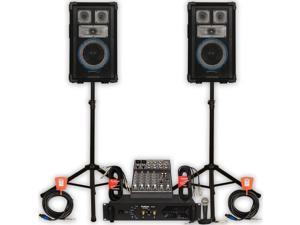 Technical Pro VRTX8 Speakers Amp Mixer Mic Stands and Cables 1200W DJ PA Set VRTX8SET3
