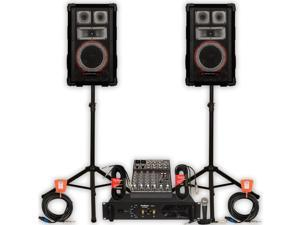 Technical Pro VMPR8 Speakers Amp Mixer Mic Stands and Cables 1400W DJ PA Set VMPR8SET3