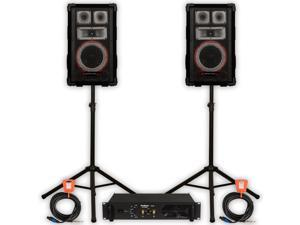 Technical Pro VMPR8 Speakers Amp Stands and Cables 1400 Watts PA DJ Karaoke VMPR8SET2