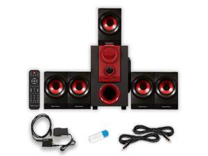 Theater Solutions TS521 Home 5.1 Speaker System with USB Bluetooth Optical Input and 2 Ext. Cables
