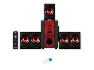 Theater Solutions TS521 Home Theater 5.1 Speaker System Powered with USB Bluetooth