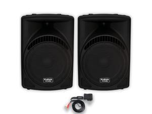 "Podium Pro 1 Pair of New 1800 Watts Band DJ PA Karaoke Active Powered 15"" Loud Speakers w/ Bluetooth PP1504CDB"