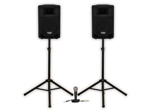 """Podium Pro PP806A Battery Powered 8"""" Active Speakers with USB SD MP3 800W with Mic and Stands PP806ASET2"""