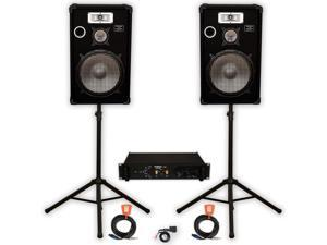 """Podium Pro Deluxe 15"""" DJ Speakers, Stands, Amp, Bluetooth and Cables Set for PA Karaoke E1525SET2B"""