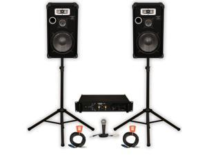 """Podium Pro Deluxe Speakers 12"""" Three Way, Stands, Amp, Cables and Mic Set for PA DJ Home or Karaoke E1225SET"""