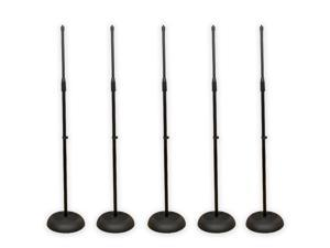 Podium Pro MS1 Adjustable Steel Microphone Stands with Iron Bases 5 Mic Stand Set MS1-5S