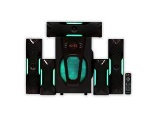 Theater Solutions TS524 Deluxe 5.1 Home Theater Speaker System with LED Lights Multimedia Gaming