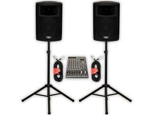 """Podium Pro PP1003A Powered 10"""" PA DJ Speaker Pair with 12 Channel Mixer Stands and Cables"""