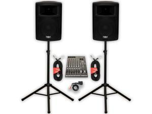 """Podium Pro PP1003A Powered 10"""" PA DJ Speakers with Bluetooth 12 Channel Mixer Stands and Cables"""
