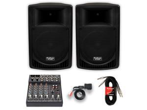 """Podium Pro Audio PP1006A Battery Powered 10"""" MP3 Speakers, Bluetooth, Mixer and Cables 1000 Watt P1006ASET3B"""
