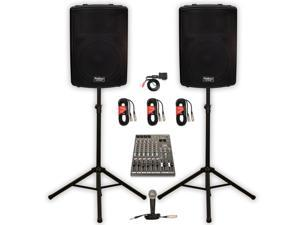 """Podium Pro PP1502A Powered 15"""" PA DJ Speaker Pair with Bluetooth 12 Channel Mixer Mic Stands and Cables"""