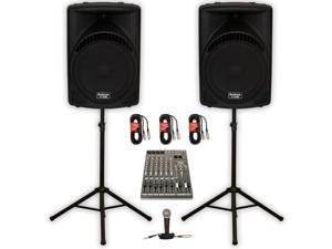 """Podium Pro 1 Pair New Karaoke PA DJ Band 15"""" MP3 Powered Active 1800 Watt Speakers, Mixer, Stands, Cables and Mic PP1504CDSET"""