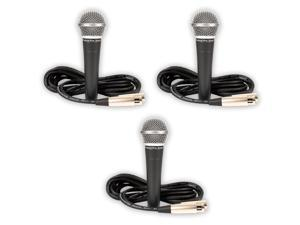 Podium Pro PP58 Dynamic 3 Microphones with Cables Set PA DJ Karaoke Studio Band PP58-3S