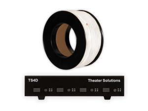 Theater Solutions TS4D Dual Input 4 Zone Speaker Selector Box and 100' of C100-14-4 Wire
