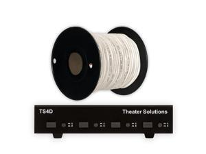 Theater Solutions TS4D Dual Input 4 Zone Speaker Selector Box and 100' of C100-14-2 Wire