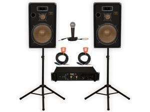 """Podium Pro  15"""" Speakers 3 Way Pro Audio Monitors, Stands, Amp, Cables and Mic Set for PA DJ Home or Karaoke PPB15SET"""