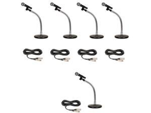 Podium Pro 5 PP58 Dynamic Microphones, Cables with Tabletop Gooseneck Stands and Clamp Clips PMS3MC1-5S