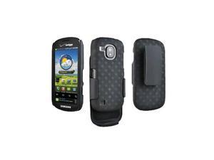 OEM Verizon Rubberized Hard Shell Case w/ Holster for Samsung Continuum SCH-i400 (Black) (Bulk Packaging)