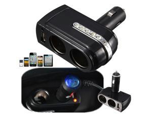 DC 12V/24V 2 Socket 1 USB Port Adapter Splitter Car Cigarette Lighter Charger