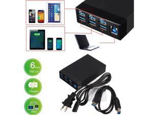 SEENDA 5A USB 3.0 6-Port Hub Smart Charger Adaptor + RJ45 Ethernet LAN Converter Port AC Power Adapter