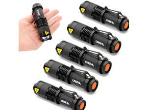 5 PCS 7W  300LM Lumens CREE Q5 LED Ajustable Focus Zoomable Mini Flashlight Torch Lamp One Mode 14500 - Black SA3
