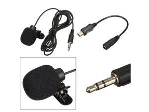 External 3.5mm Microphone Mic Clip Lapel Tie Mini USB Cable Adapter for GoPro Hero 3 3+ 4