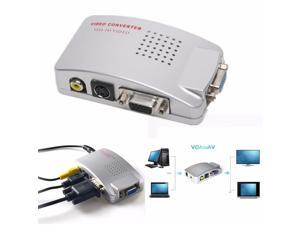PC VGA to TV AV LCD RCA Composite S-Video Adapter Converter BOX +Video Cables