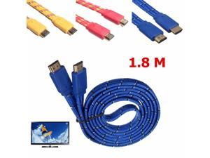 1.8M/6Ft Farbic Braided HDMI 1.4 Male to Male Flat Noodle Gold Plated Cable 1080P HDTV