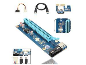 USB 3.0 PCI-E Express 1x to 16x Riser Extender Card Adapter Power Cable Mining Bitcoin