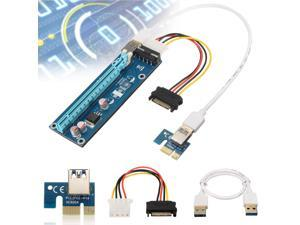 USB 3.0 PCI-E Express 1x to 16x Extender Riser Board Card Adapter w/ SATA Cable