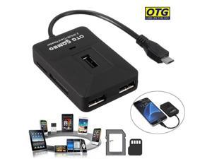 Micro USB OTG Adapter 3 USB HUB Splitter +SD MMC Card Reader For Android Samsung
