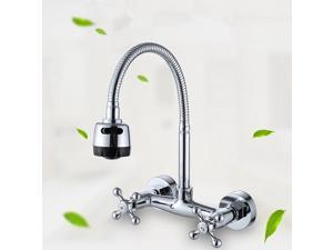Flexible Spring Kitchen Wall Mounted Sink Spout Faucet Chrome Mixer Tap Sprayer