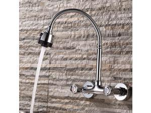 Kitchen Basin Faucet Swivel Spout 2 Handle Sink Pull Down Spray Tap Chrome Brass