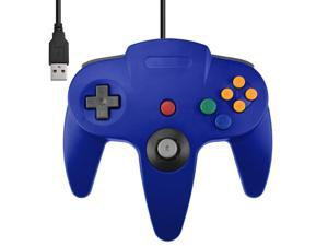 Direct USB N64 Wired Classic Controller Pad for Windows PC Mac Blue