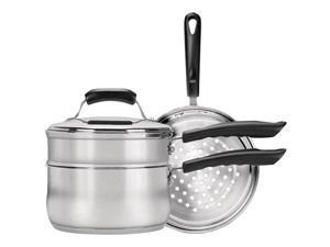 Range Kleen Basics 3-quart Saucepan With Double Boiler And Steamer Insert Set