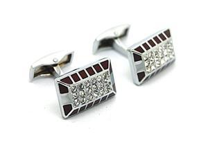 Black with White Crystal Oval Cufflinks