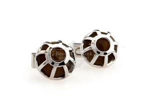 Interesting Brown Gems Semi-circular Cufflinks