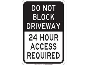 BRADY 124354 Traffic Sign, 18 x 12In, Black/White