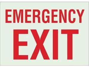 """Fire Exit Sign, Brady, 90494, 10""""Hx14""""W"""